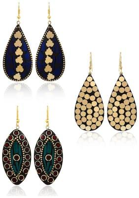 YouBella Stylish Afghani Tibetan Combo Jewellery Gold Plated Dangler Earrings for Women (Multi-colour) (YBEAR_32364)