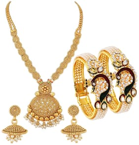 YouBella Jewellery Gold Plated Combo Jewellery Set for Women