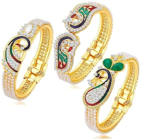 YouBella Traditional Pearl & Gold Plated Combo Bangle Set For Women