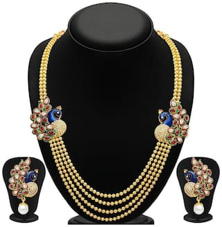 YouBella Traditional Dancing Peacock Gold Plated Necklace Set with Earrings for Women