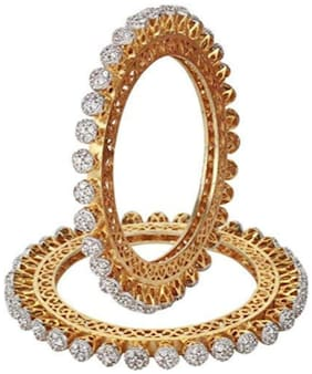 YouBella Traditional Jewellery Gold Plated and American Diamond Bangle Set for Women (White) (YBBN_91574_2.6)