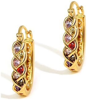 YouBella Valentine Collection Multicolor Gold Plated Hoop Earrings for Girls and Women