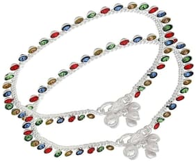 Yuvaan Crystal Silver Anklets For Women