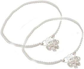 Yuvaan Crystal Women Alloy anklet Silver