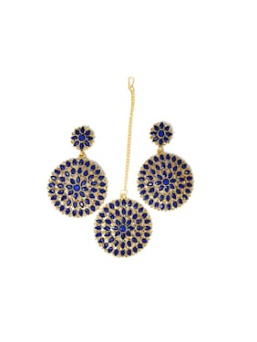 ZaffreCollections Trending Big Round Maang Tikka with Earrings Set for Women and Girls