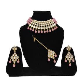 ZaffreCollections Beautiful Kundan & Pink Pearl Choker with Matching Dangle Kundan Earrings and Kundan Maang Tikka Set for Women and Girls
