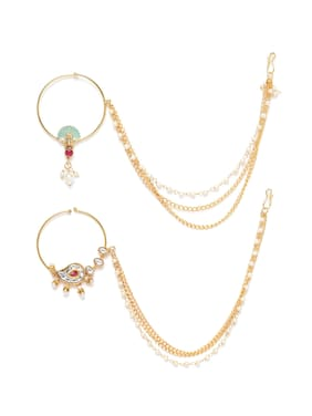 Zaveri Pearls Combo Of 2 Enamelling & Kundan With Chain Link Bridal Hoop Nose Ring-ZPFK9590
