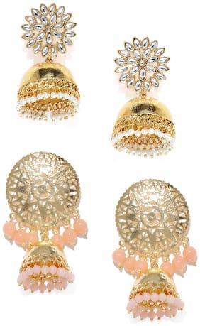 Zaveri Pearls Combo of 2 Gold Tone Traditional Jhumki Kundan Earring -ZPFK9038