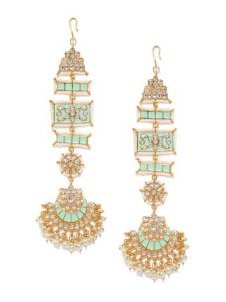 Zaveri Pearls Enamelling Sea Green Kundan & Pearls With Ear Chain Dangle Earring-ZPFK9389