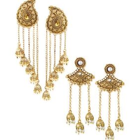 Zaveri Pearls Combo of Two Tassels with Dome-Shaped Jhumki Earring-ZPFK6507