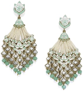 Zaveri Pearls Antique Gold Tone Embellished With Pearls & Meenakaari Dangle Earring-ZPFK7383