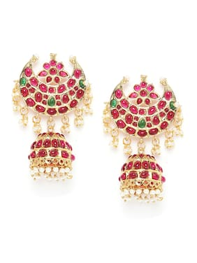 Zaveri Pearls Pink & Green Stones South Indian Style Traditional Jhumki Earring-ZPFK9526