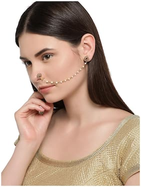 Zaveri Pearls Gold Tone Pearls Clip-on Nose Pin Chain Linked With Stud Earring-ZPFK7407