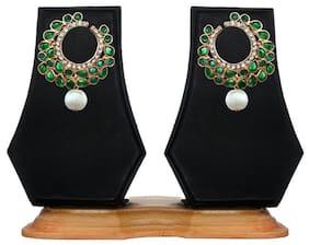 Zaveri Pearls Green Zinc Earrings