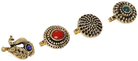 Zaveri Pearls Combo of 4 Antique Gold Tone Traditional Nosepin-ZPFK8599