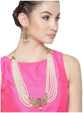 Zaveri Pearls Multi Layered Pearls Centered With Antique Gold Tone Peacock Necklace Set-ZPFK7249
