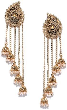 Zaveri Pearls Tassels With Dome-Shaped Jhumki Drops Earring-ZPFK6402
