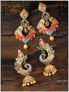 Zaveri Pearls Festive Combo Of 2 Peacock Inspired Enamelled Earring-ZPFK9024
