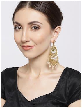 Zaveri Pearls Gold Tone Traditional Dangling Chandbali Earring-ZPFK6901