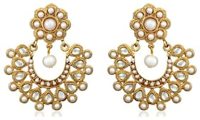 Zaveri Pearls White And Gold Earrings