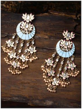 Zaveri Pearls Festive Lotus Design Enamelled Dangle Earring For Women-ZPFK8783