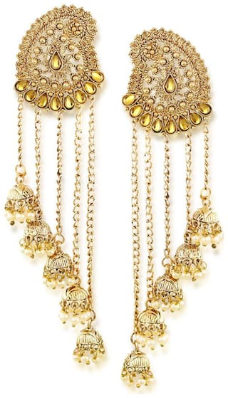 Zaveri Pearls Tassels With Dome-Shaped Jhumki Drops Earring-ZPFK6404