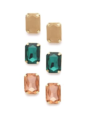 Zaveri Pearls Combo Of 3 Crystal Shine Stones Contemporary Stud Earrings-ZPFK9573
