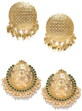 Zaveri Pearls Combo Of 2 Traditional Pearl & Golden Carving Work Design Stud Earring  -ZPFK9042