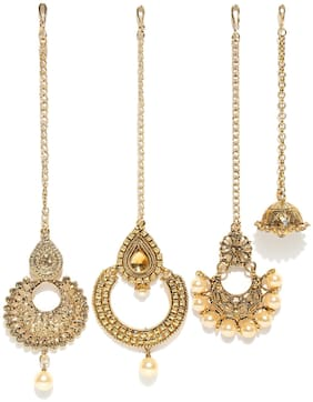 Zaveri Pearls Combo of 4 Traditional Maangtikka-ZPFK6649