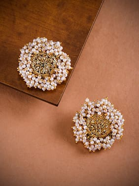 Zaveri Pearls Gold Tone Embellished With Pearls Stud Earring-ZPFK8957