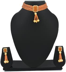 Brass Peach Choker Necklace Set