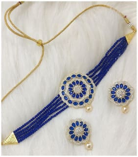 Brass Blue;Gold Choker Necklace Set