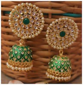 Zcarina AD Enamal Jhumka Earrings For Girls and Women