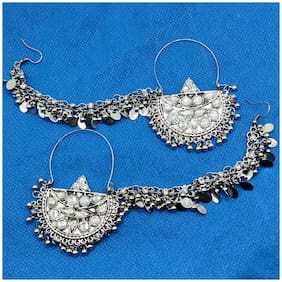 Zcarina Afghani Style Chandbali Earrings with Chain for Women and Girl