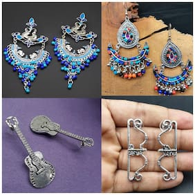 Zcarina Afghani Style Oxidised Earrings Combo of 4 pairs