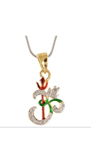 Zcarina American Diamond Stud Multicolor Gold Plated OM Pendant With Chain (Pack Of 5)