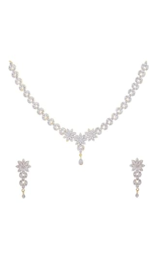 Zcarina American Diamond Gold Plated Necklace Set For Women and Girls (Pack Of 5)