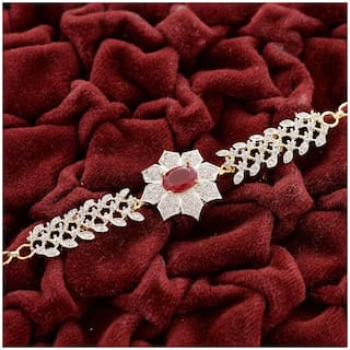 Zcarina American Diamond with Red Stone Adjustable Bracelet for Girls and Women