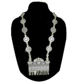 Zcarina Antique Oxidized Silver Plated Coins Necklace For Women