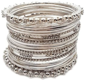 Zcarina Antique Look Jewellery Silver Plated Traditional Bracelet Bangles set for women   (1 Set)