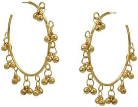 Zcarina Bead Stylish Designer Fancy Party Wear Hoop Earrings for Girls and Women