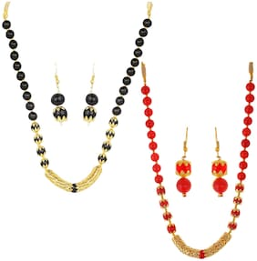 Alloy;Beads Black;Red;Gold Necklace