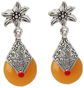 Zcarina Beautiful Design Oxidised Silver Plated Yellow Color Earring Set for Women & Girls