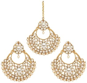 Zcarina Big Ethnic Design Kundan Style Golden Finish Matha Patti and Earring Set For Women & Girls