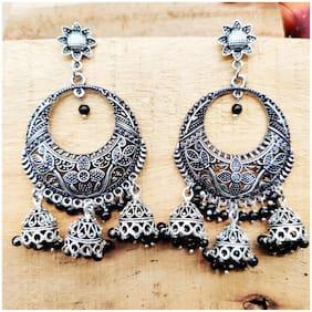 Zcarina Black Beads Hoop Hanging Chandbali Antique Jewellery Earring Set