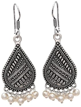 Zcarina Black Shade With Pearl Drop Earring For Girls And Women
