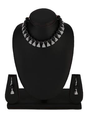 Zcarina Black Pearl Beads Necklace Jewelry Set