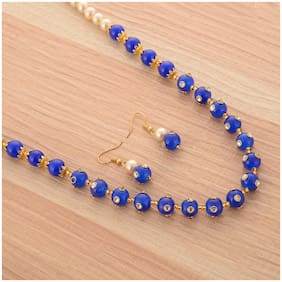 Zcarina Blue Color Pearl Mala with Earring