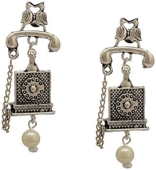 Zcarina Bohomian Earring Retro Design Silver Oxidised Alloy Tribal Jewelry For Women