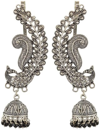 Zcarina Brass Based Silver Plated Ear cuff Jhumki For Girls and Women